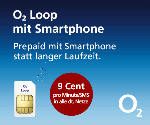 o2 Loop Prepaid-Karte mit Smartphone