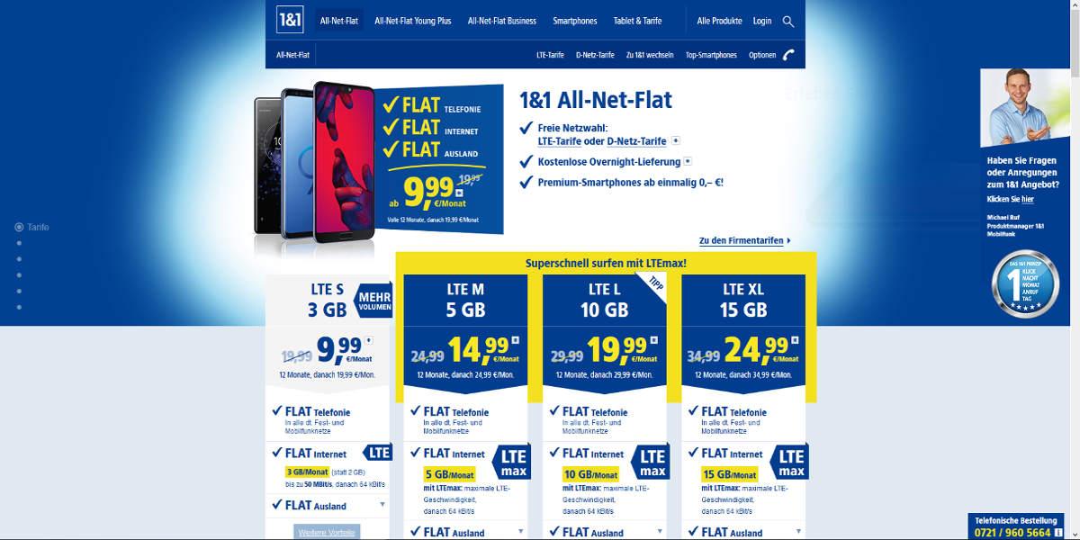 1und1 Mobilfunk Homepage