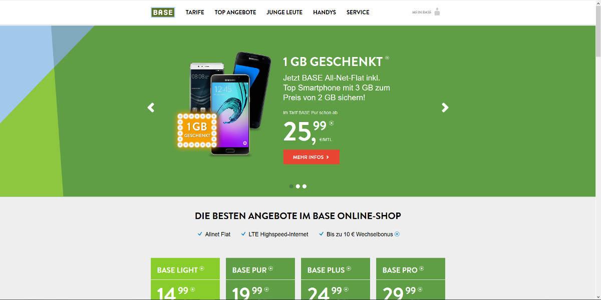 BASE Mobilfunk Homepage