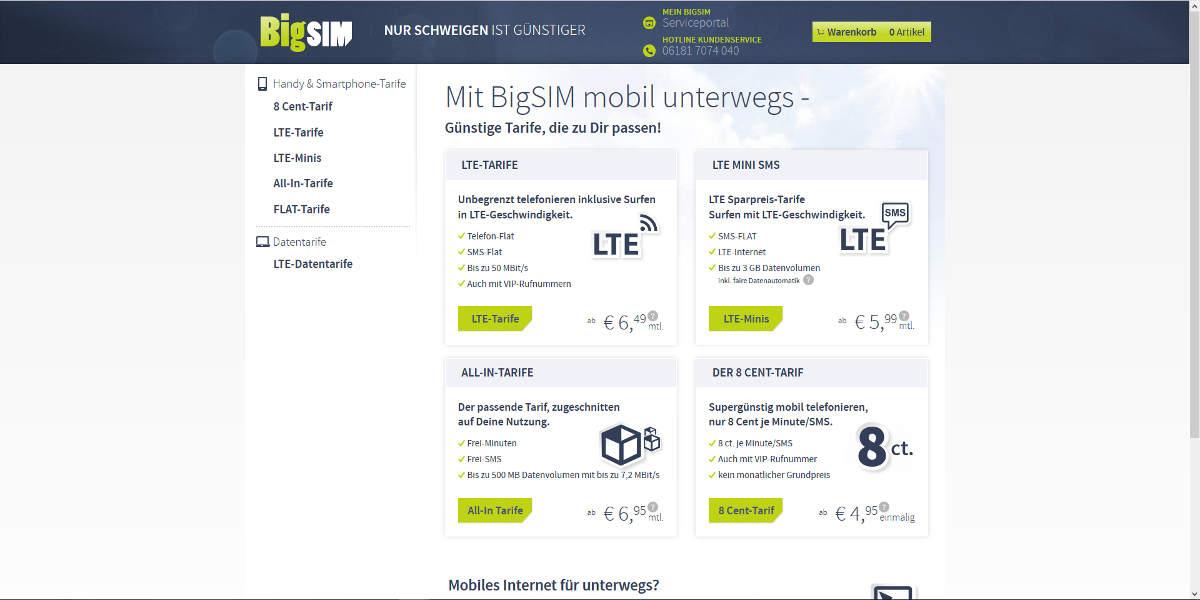 BigSIM Mobilfunk Homepage