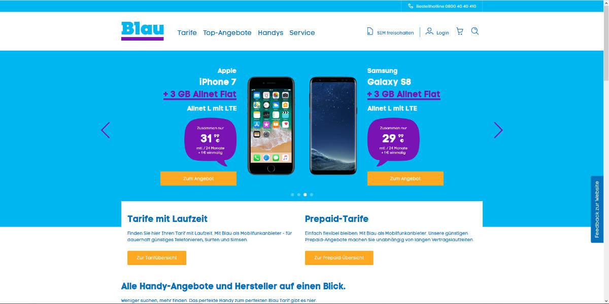 Blau Mobilfunk Homepage