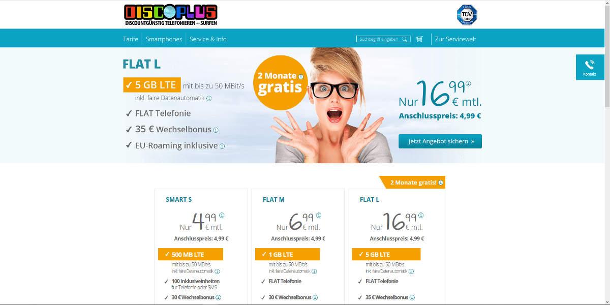 DISCOPLUS Mobilfunk Homepage