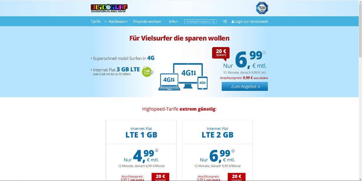DISCOSURF Mobilfunk Homepage