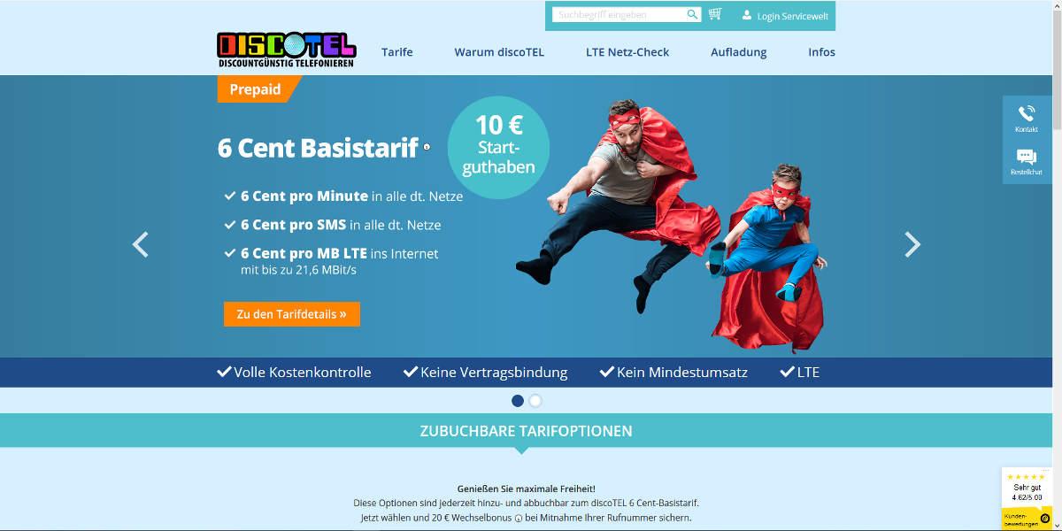DISCOTEL Mobilfunk Homepage