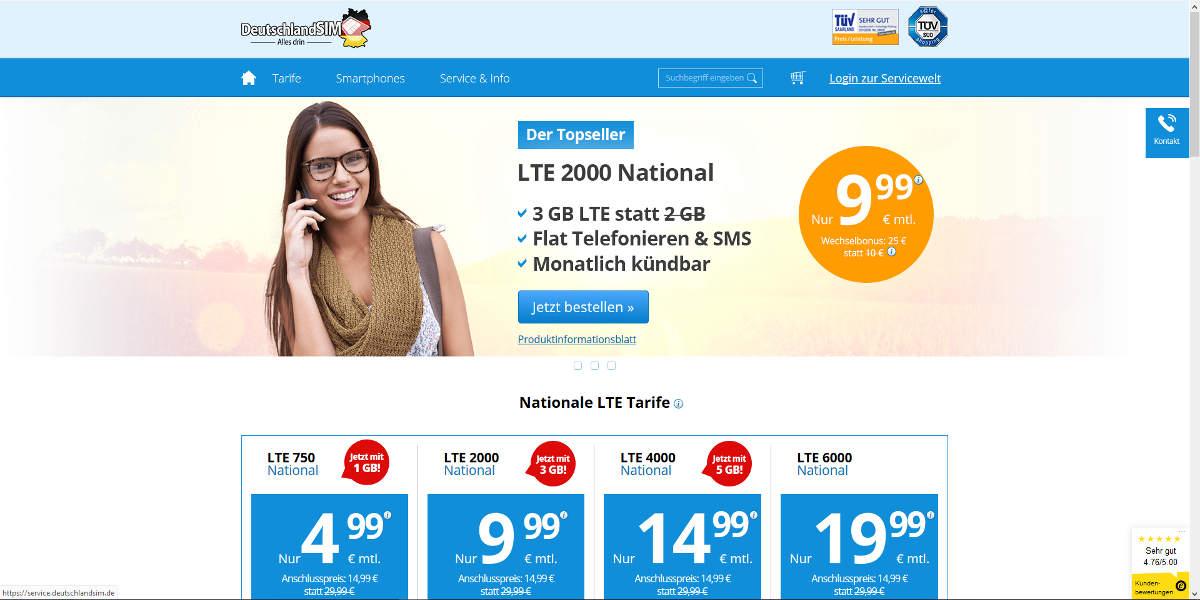 DeutschlandSIM Mobilfunk Homepage
