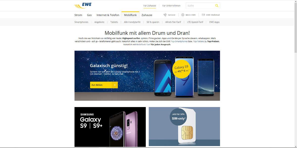 EWE Mobilfunk Homepage
