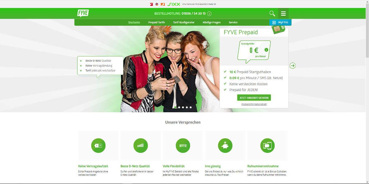 FYVE Mobilfunk Homepage