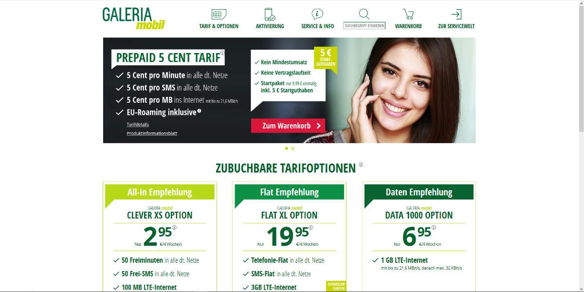GALERIAmobil Mobilfunk Homepage