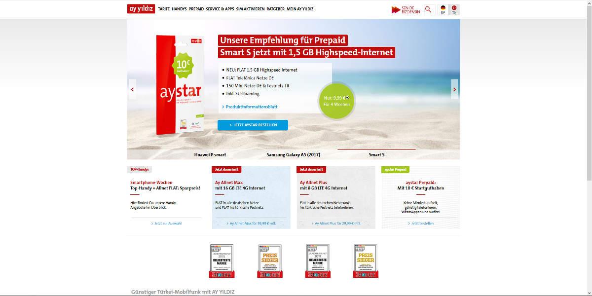 ay yildiz Mobilfunk Homepage