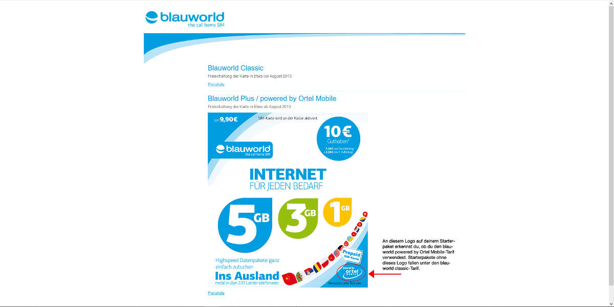 blauworld Mobilfunk Homepage