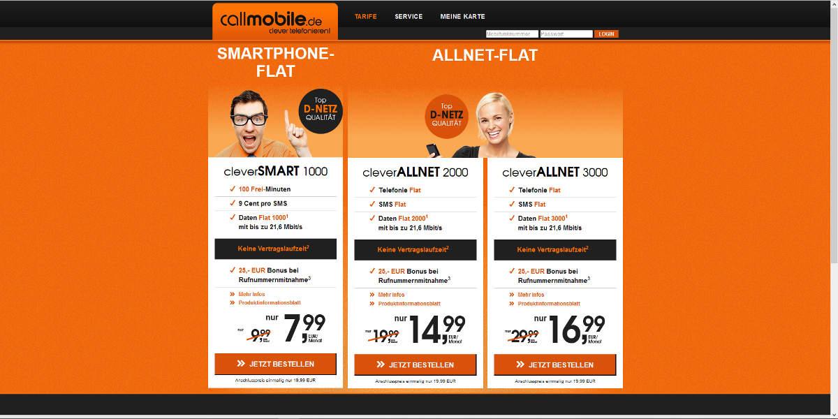 callmobile Mobilfunk Homepage