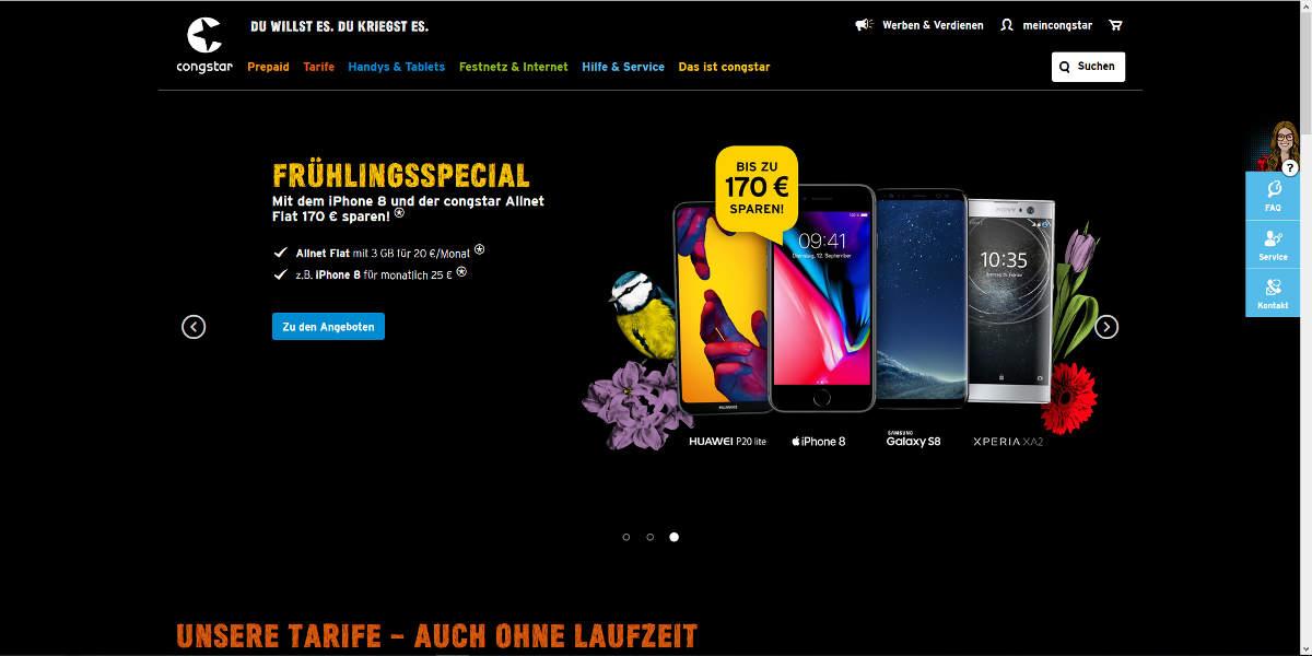 congstar Mobilfunk Homepage