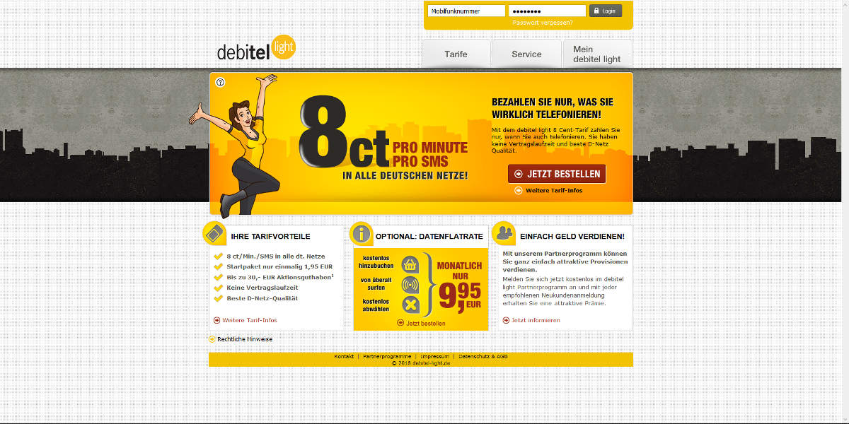 debitel light Mobilfunk Homepage