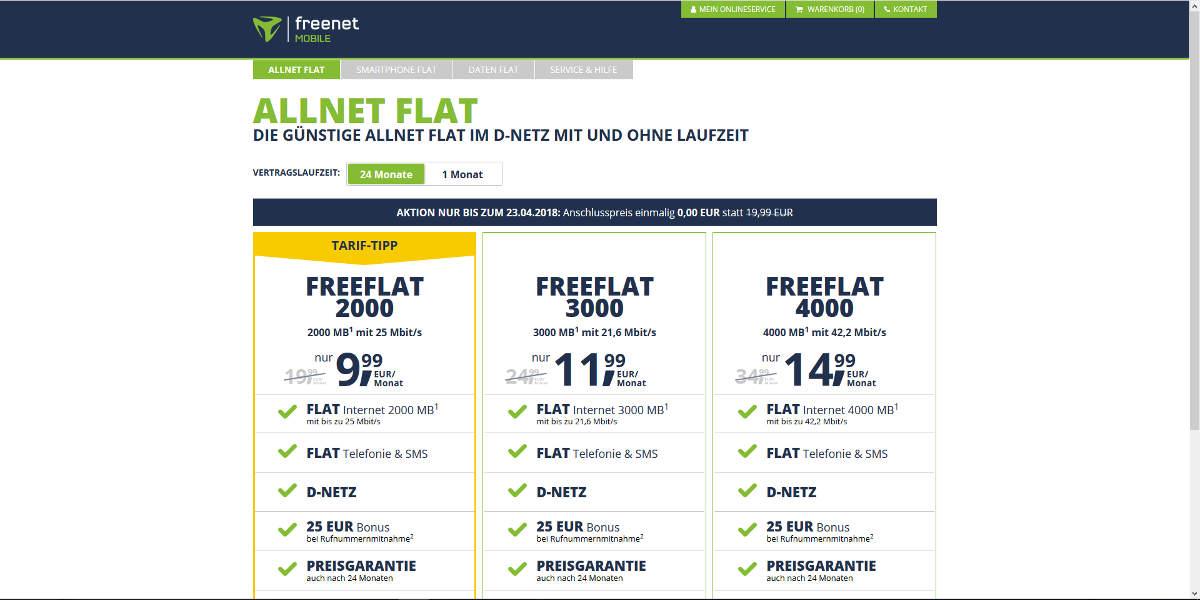 freenetmobile Mobilfunk Homepage