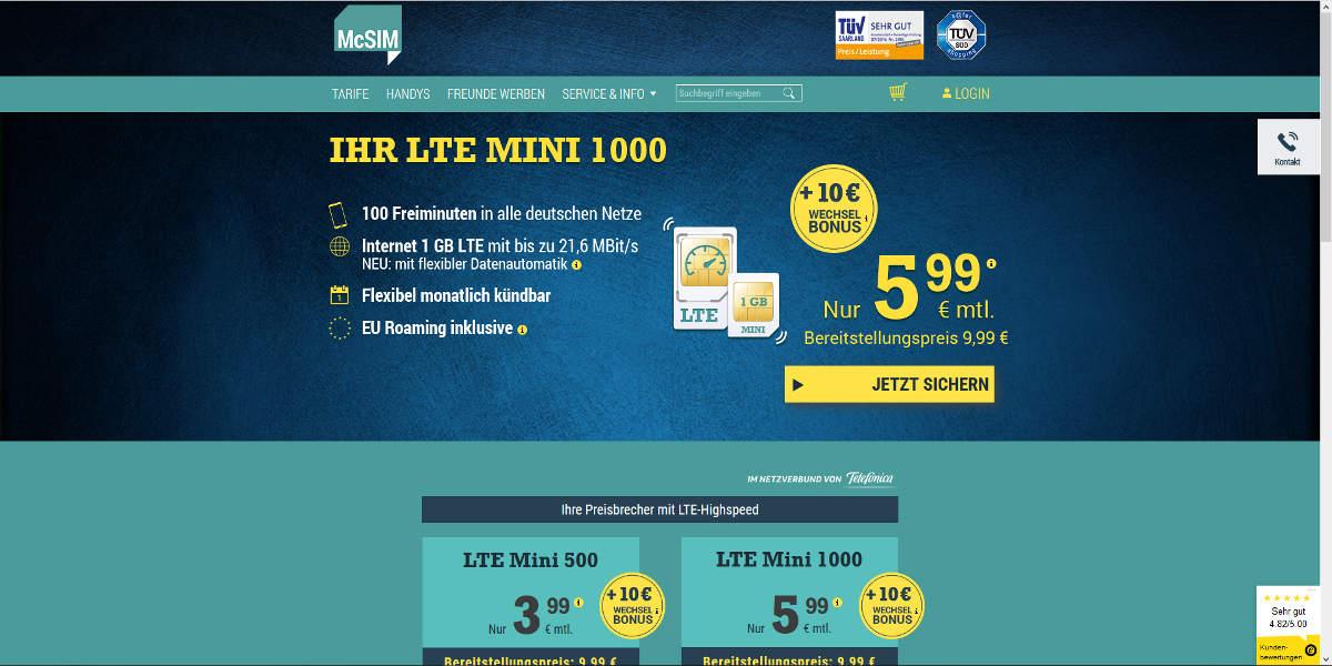 McSIM Mobilfunk Homepage