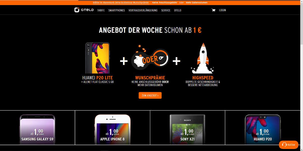 OTELO Mobilfunk Homepage