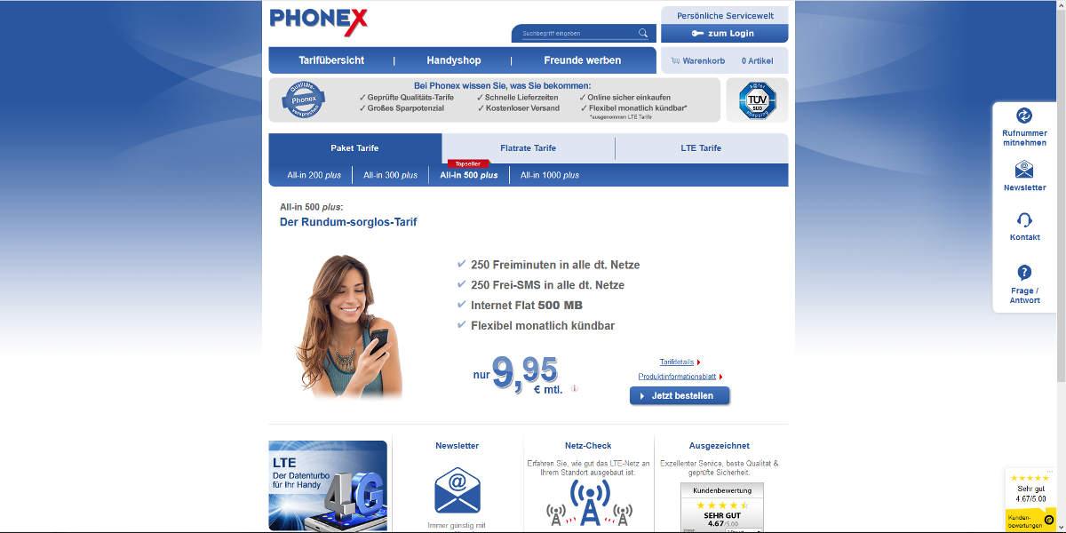 PHONEX Mobilfunk Homepage