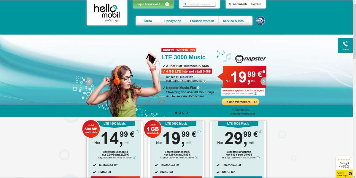helloMobil Mobilfunk Homepage