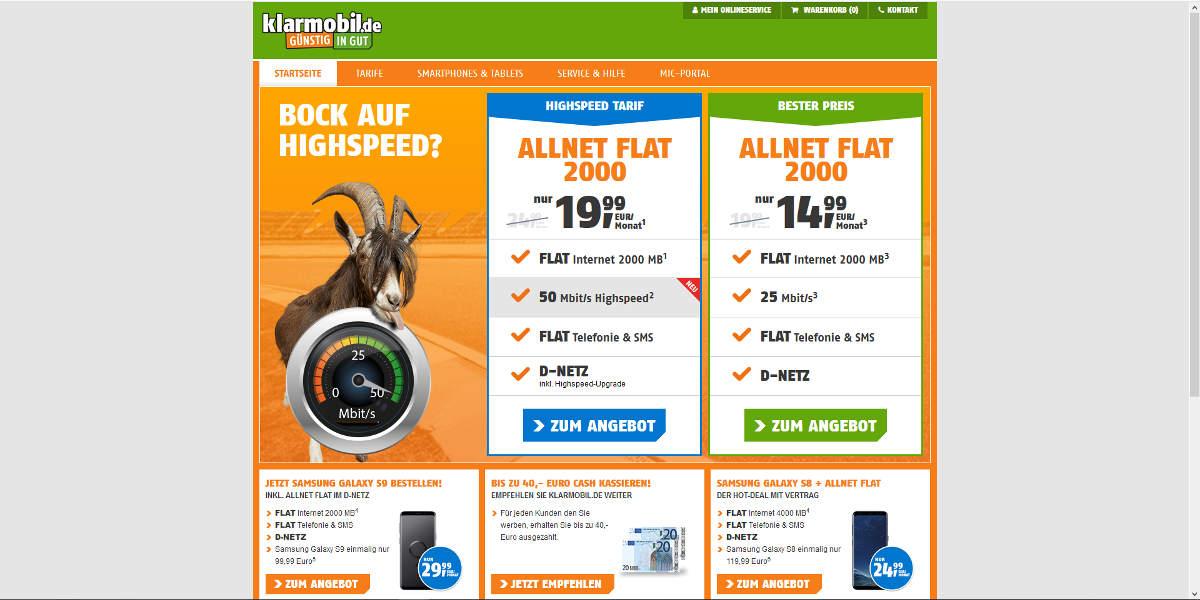 klarmobil Mobilfunk Homepage