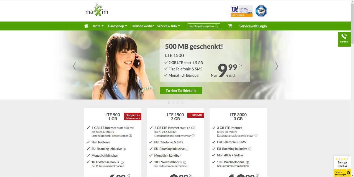 maXXim Mobilfunk Homepage