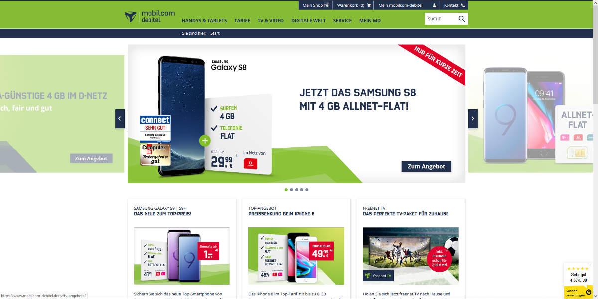 mobilcom debitel Mobilfunk Homepage