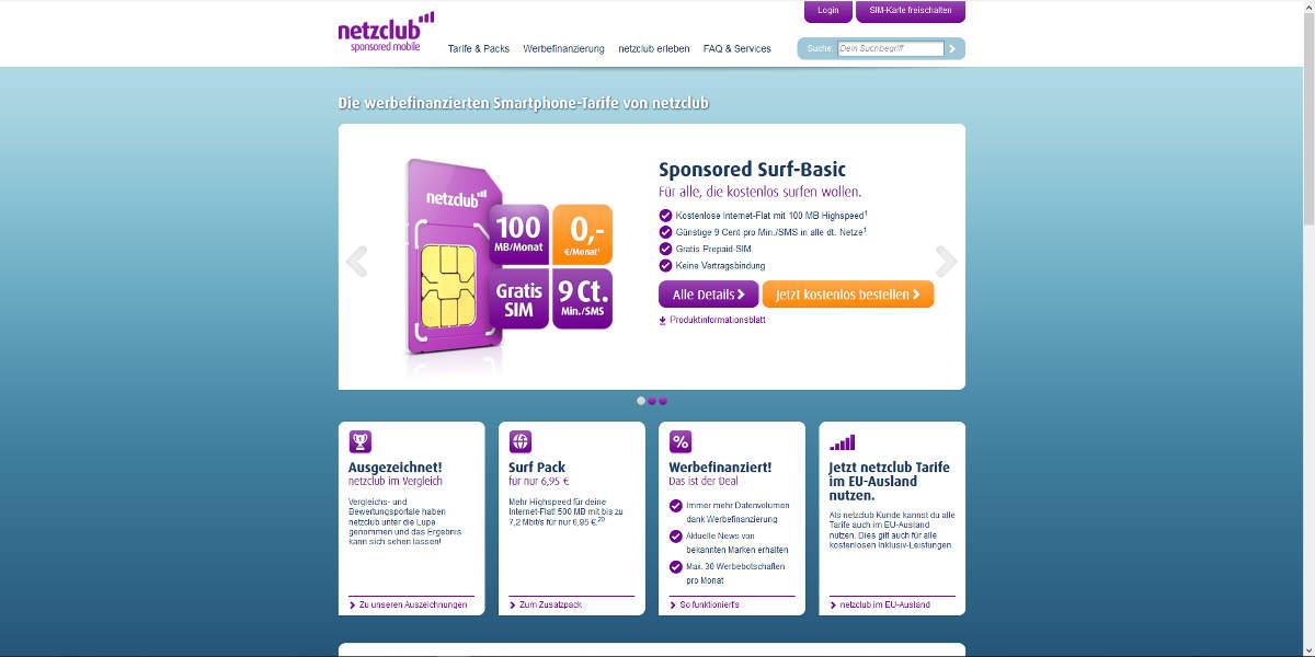 netzclub Mobilfunk Homepage