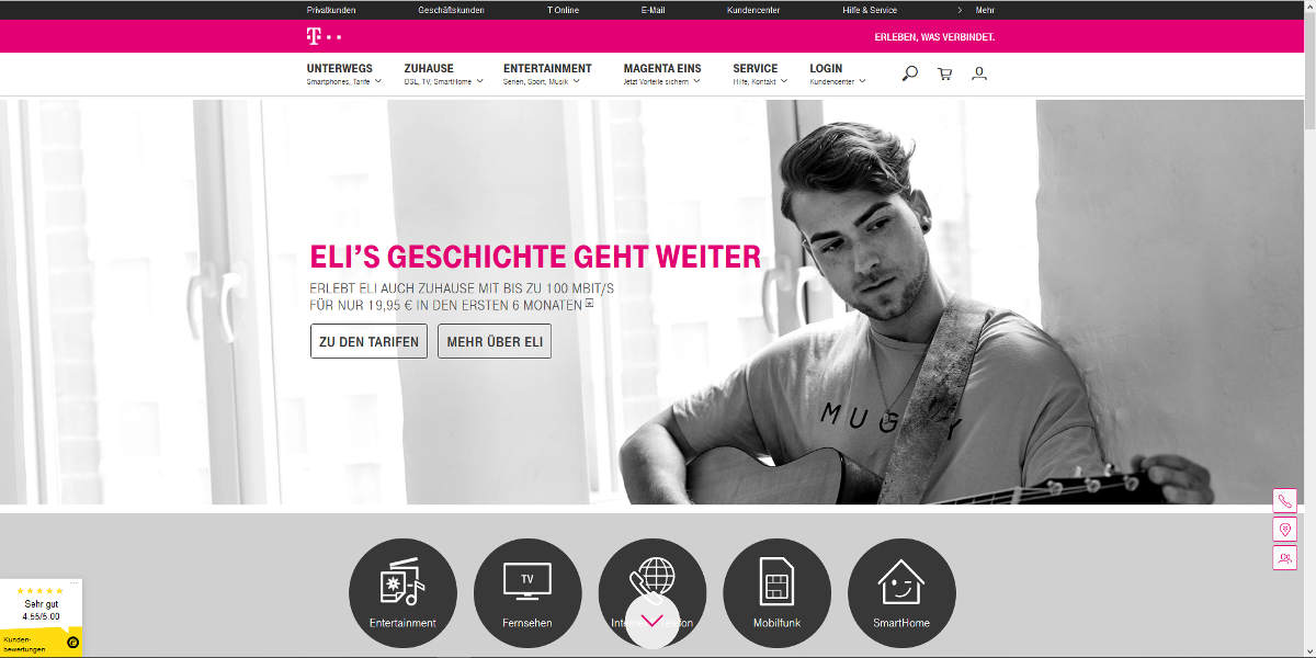 Telekom Mobilfunk Homepage
