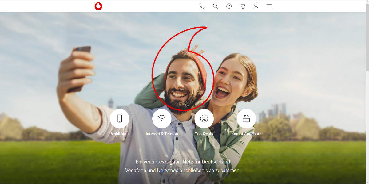 Vodafone Mobilfunk Homepage