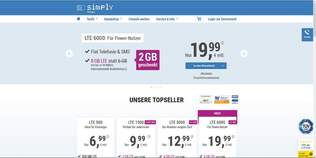 simply Mobilfunk Homepage