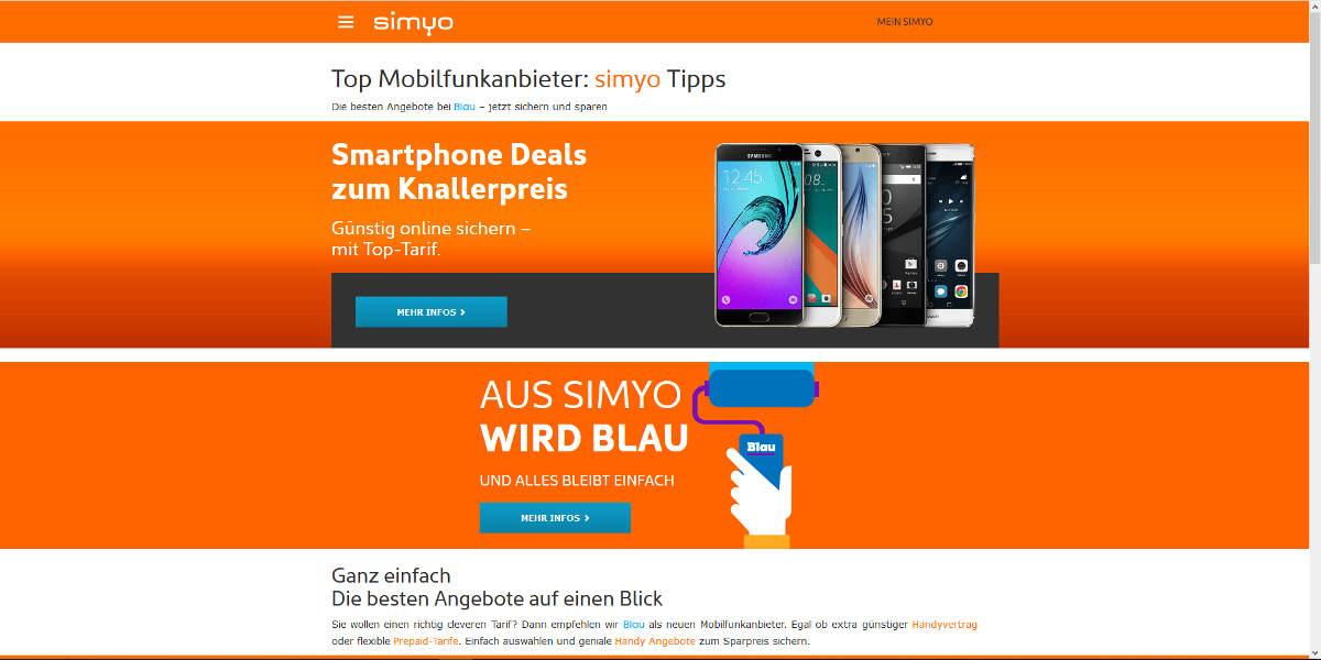 simyo Mobilfunk Homepage