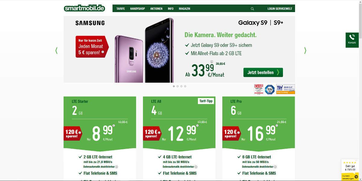 smartmobil Mobilfunk Homepage