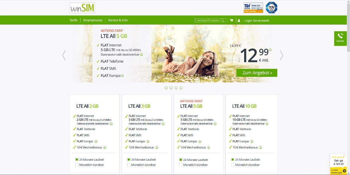 winSIM Mobilfunk Homepage