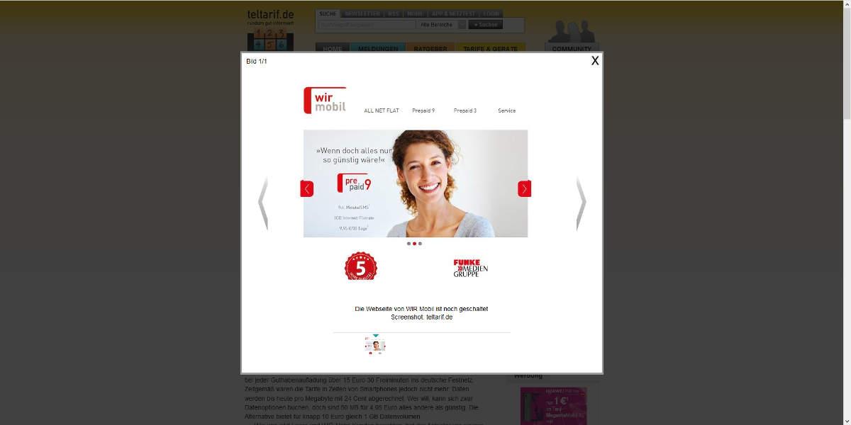 wir mobil Mobilfunk Homepage